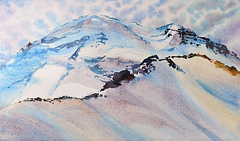 Photo of Suze Woolf painting of Northwest alpine landscape