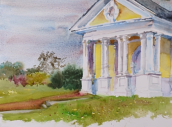 Suze Woolf painting of Fort Lawton military building