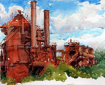 Suze Woolf painting of Gasworks Park 2019