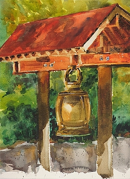 Photo of Suze Woolf painting of Kubota Garden Bell