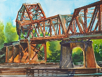 Suze Woolf painting of RR Bridge #4