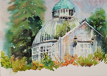 Suze Woolf painting of Seymour Conservatory Wright Park Tacoma