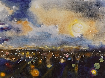 Suze Woolf painting of urban moonset