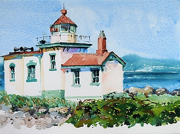 Suze Woolf painting of West Point Lighthouse