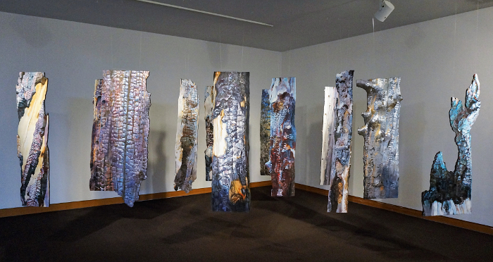 Suze Woolf installation of 12 burned tree paintings
