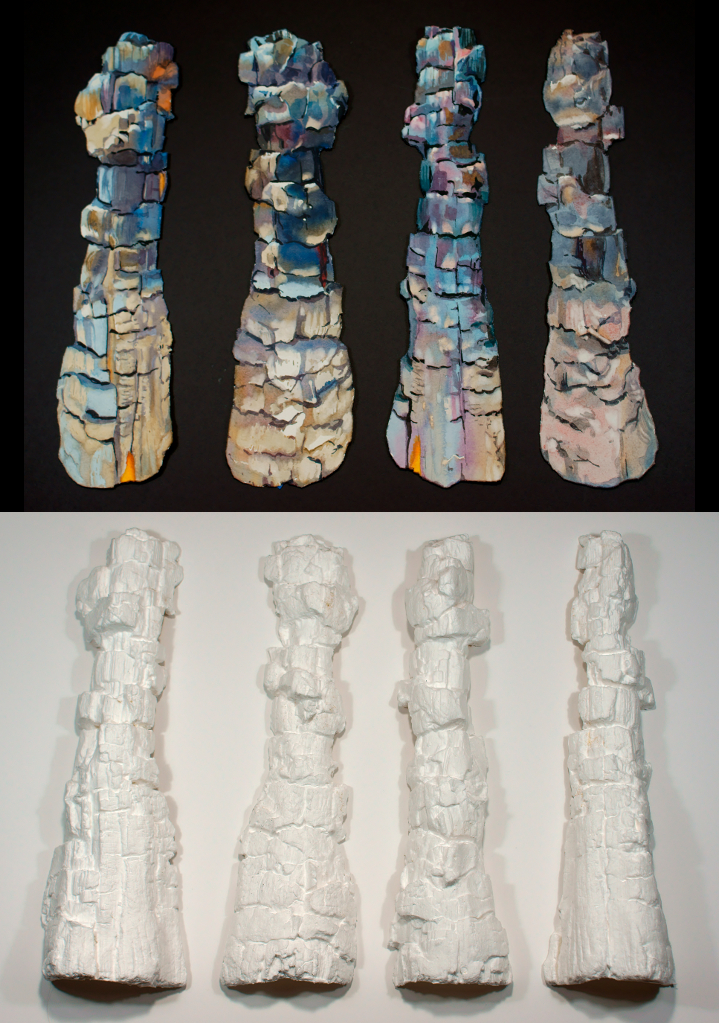 Suze Woolf painting and papercasts of the same burned log