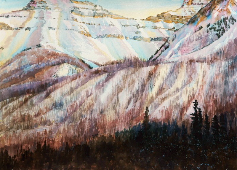 Vermillion Pass Burn is a large watercolor painting by Suze Woolf
