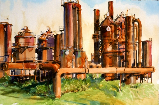 Dawn of the Fossil Fuel Age is a watercolor painting of Gasworks Park by Suze Woolf