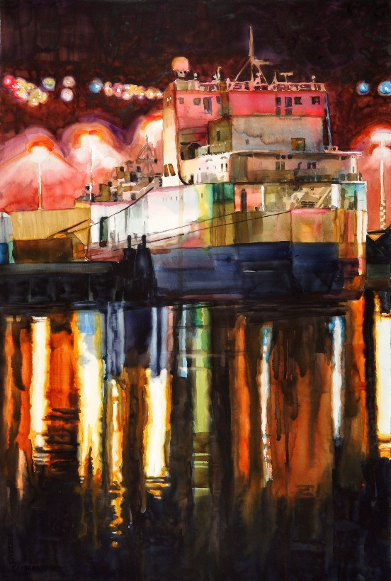 Night Shift is a Suze Woolf watercolor on gesso painting.