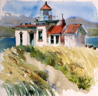 Discovery Park Lighthouse is a Suze Woolf watercolor painting.