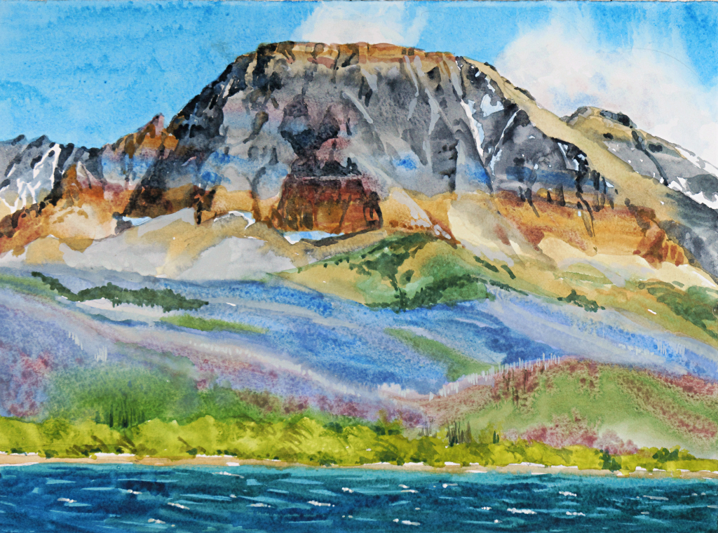 Suze Woolf painting of St Mary Lake and Curly Bear Mtn