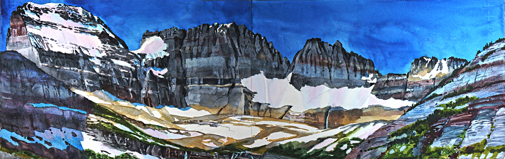 Suze Woolf painting of the Grinnell Glacier moraines