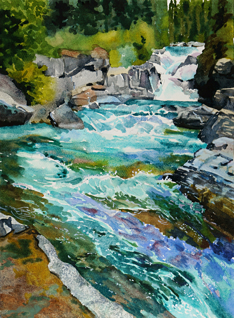 Suze Woolf painting of McDonald Creek