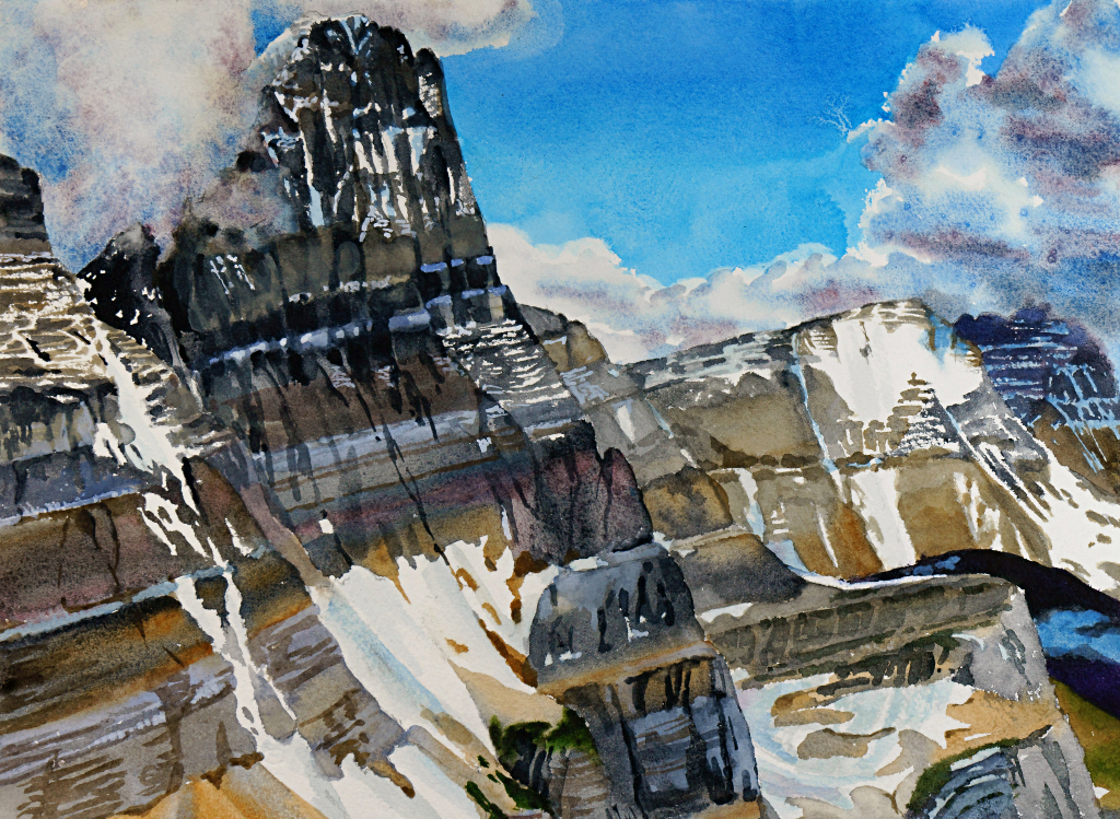 Suze Woolf painting of Mt Gould from Piegan Pass