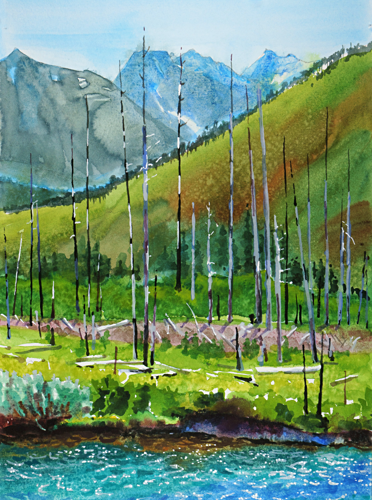 Suze Woolf painting of distant peaks foreground fire near Glacier National Park