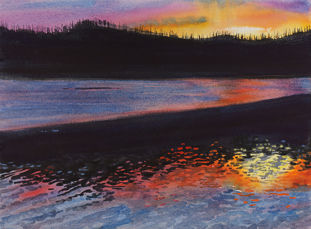 Suze Woolf painting of Lake McDonald at sunset