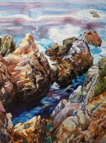 Point Lobos is a Suze Woolf watercolor on gesso painting