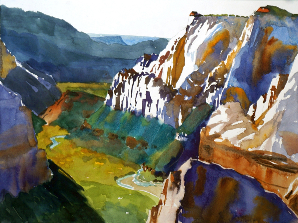 Suze Woolf watercolor painting of Zion National Park