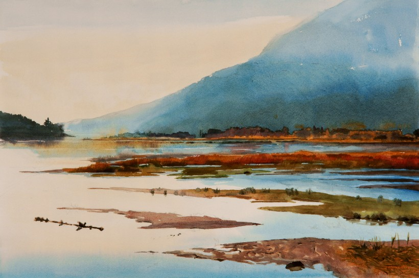 Estuary, a Suze Woolf watercolor painting for the Nature Conservancy