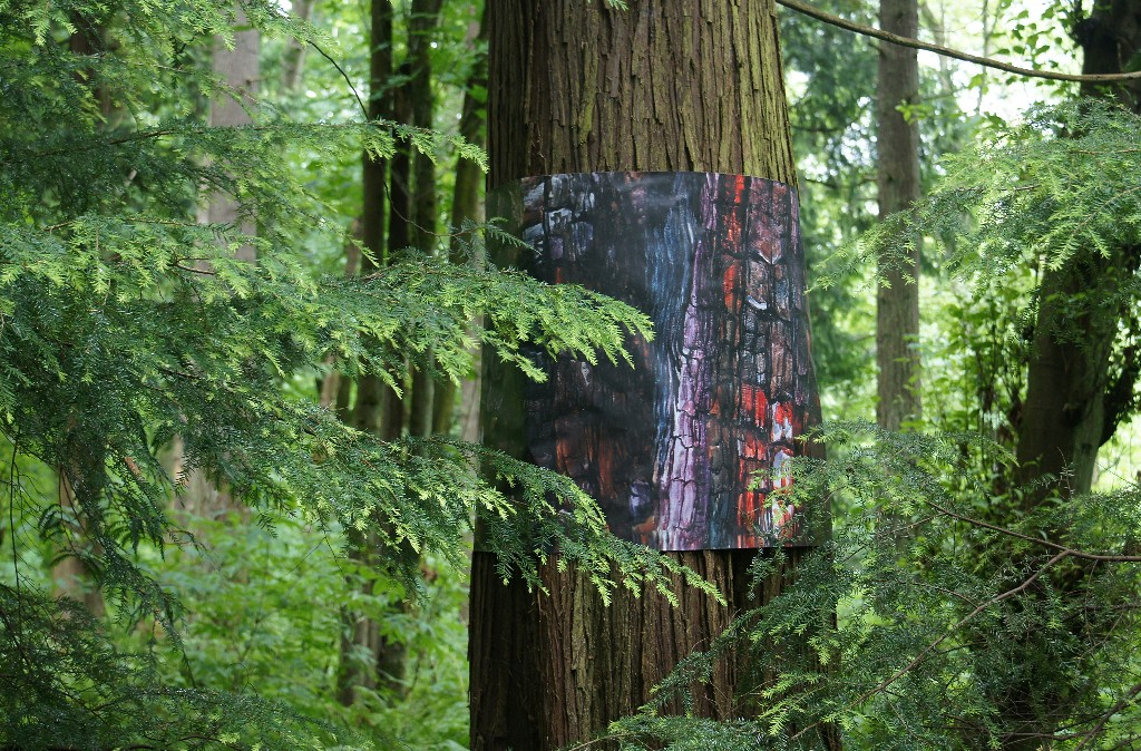 Fire-scarring banner, part of Tree Futures installation